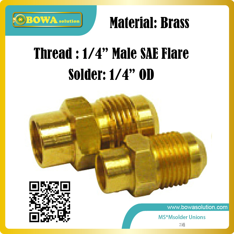 Male SAE Flare to Male Solder brass union or brass adapter suitable for connecting pressure controls and pressure gauges