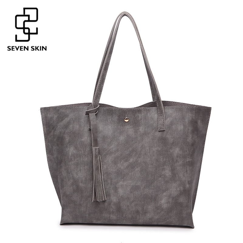 SEVEN SKIN Brand Top-handle Handbags Women's Large Bucket Shoulder Bag Female High Quality PU Leather Tote Bag Fashion Women Bag micocah fashion women shoulder bag 2 colors quality brand handbags for female pu leather gh50007