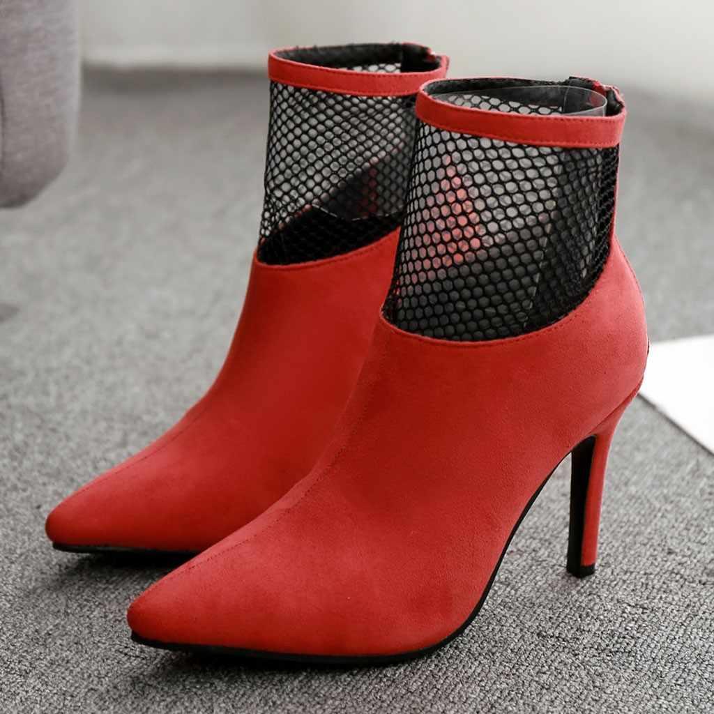 Kadın çizmeler ayak bileği seksi çizmeler yüksek topuklu sonbahar kış ayakkabı kadın çorap kadın topuk ayakkabı botas mujer 7 #3.5