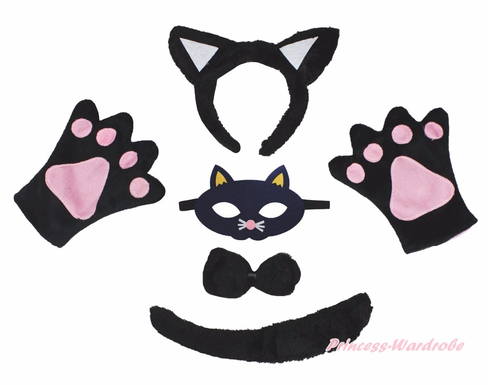 black cat halloween headband bow tail paw mask 5p unisex child kid party costume in hair accessories from mother kids on aliexpresscom alibaba group