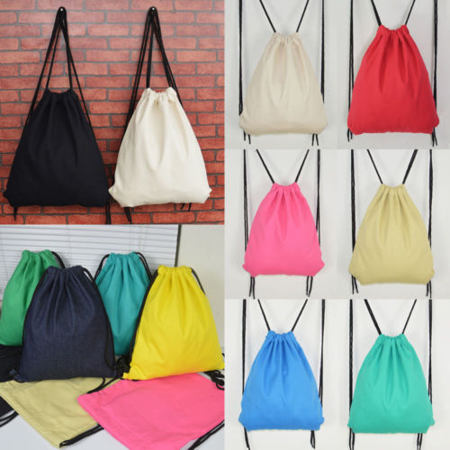 49ff4852537a Drawstring Backpack Cinch Sack Gym Tote Bag Cotton Canvas School Sport Pack