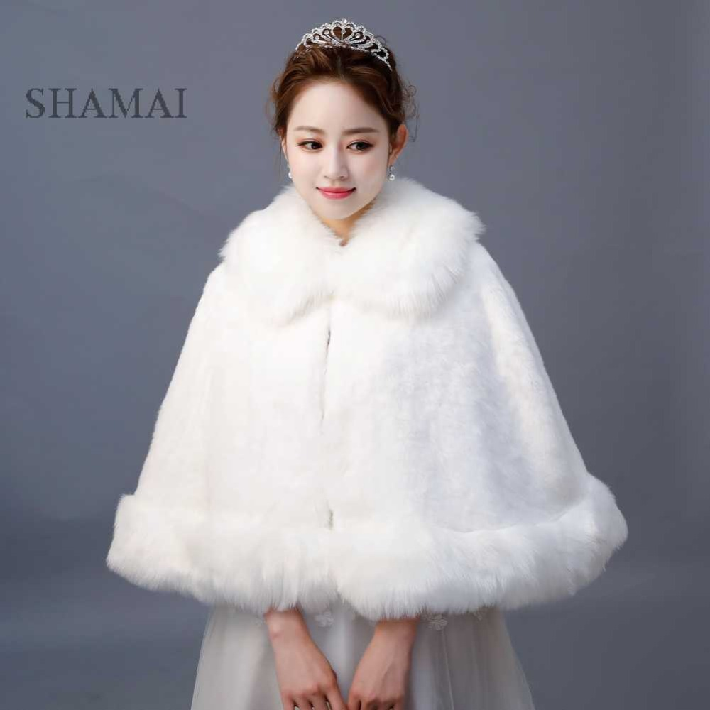 SHAMAI Faux Fur Winter Bridal Wraps Warm Ivory Fur Boleros Bridal Cape Evening Coat High Quality Wedding Jacket bridesmaids wrap
