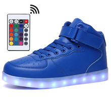 LED Shoes Womens Blue Color High Top Remote Control Mens Light Up Casual Shoes Leather  With USB Charging Fashion in Night Shoes remote control luminous light up led shoes men footwear shoes male leisure neon casual shoes unisex fashion led usb charging