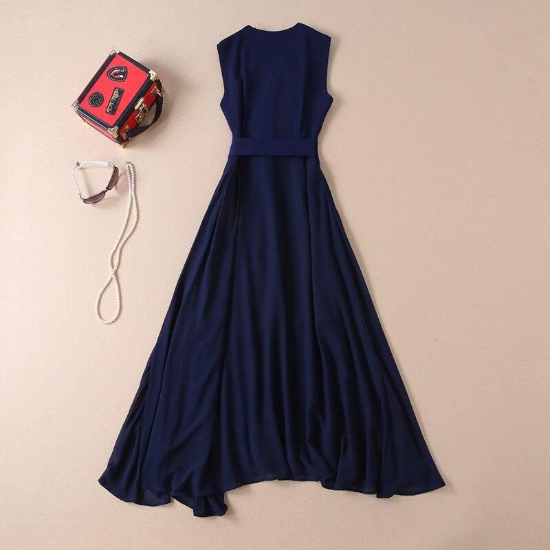 Designer Col down Longue En Ruches Piste De Femmes Haute Élégant D'été Soie Chemise Bleu Turn 2019 Mousseline Robe Qualité LAj54q3Rc