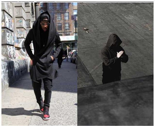 Con el invierno de los hombres rompevientos chaqueta de cachemira en dark jóvenes largo manto abrigo hombres abrigo capa con capucha
