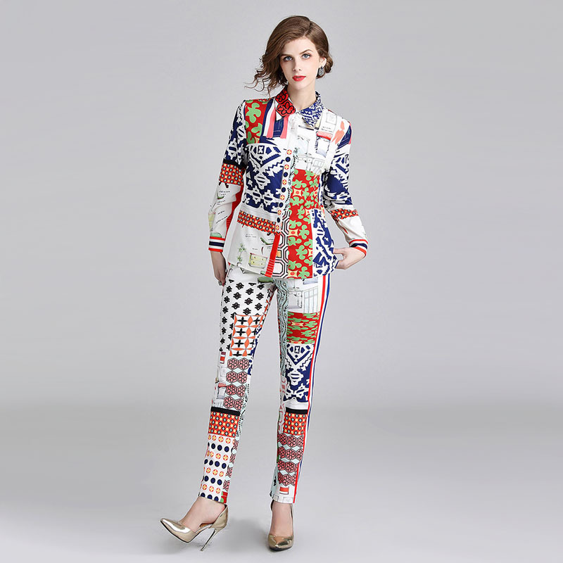 Fashion Spring Summer Designer Set Suit Women 39 s High Quality Long Sleeve Printed Elegant Blouse Pant Suit 2 pieces set women in Women 39 s Sets from Women 39 s Clothing