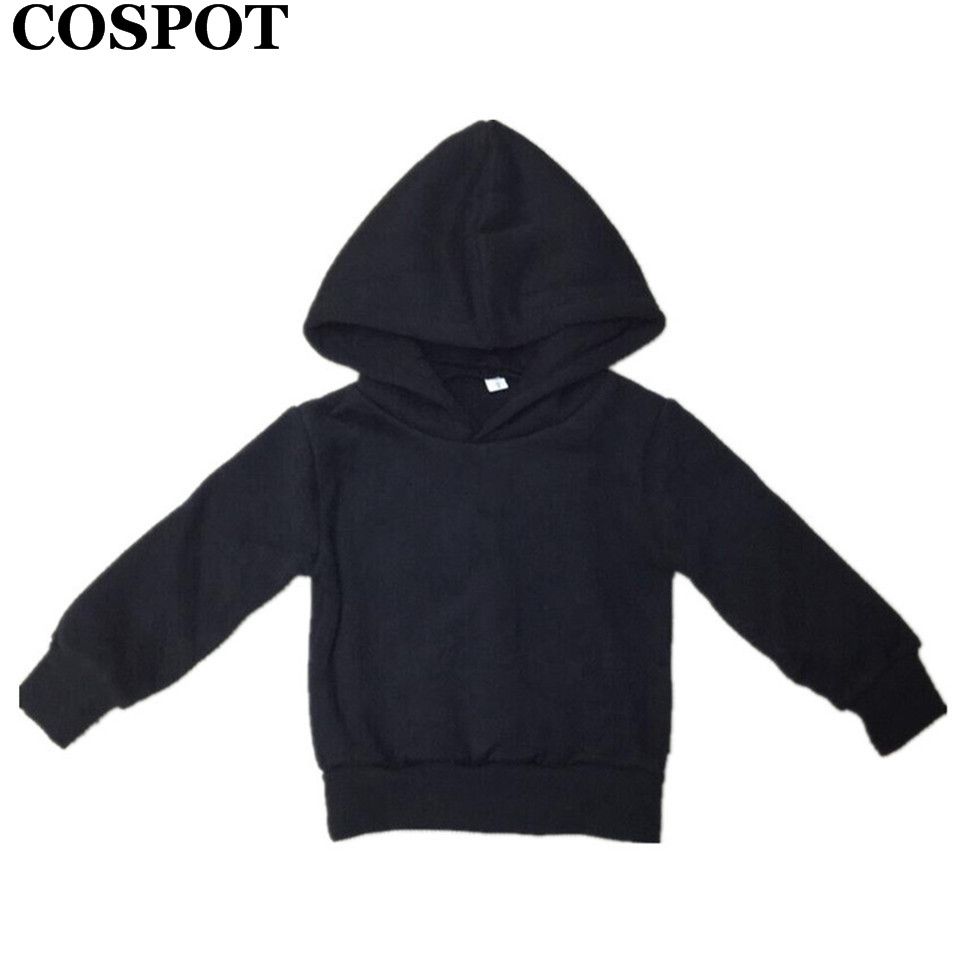 COSPOT Baby Boys Girls Autumn Hoodies Boy Girl Cotton Sweatshirt Kids Plain Black Gray Outfits Tops Children's Winter Coat 30E