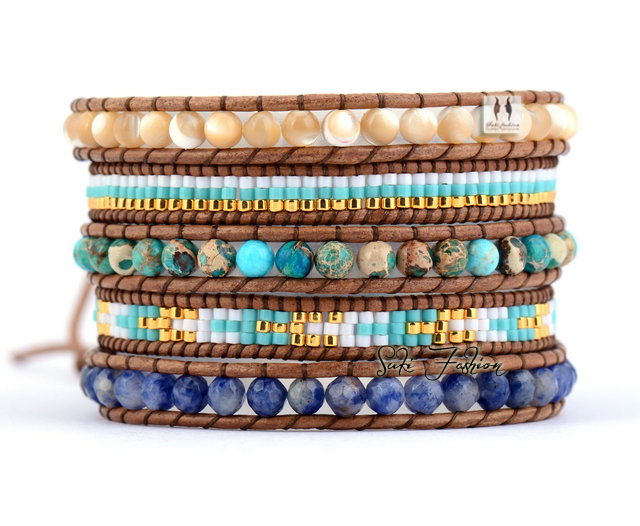 Exclusive High End Natural Stones with Selected Glass Beads Vintage Wrap  Bracelets Beading Pattern Bohemian Leather
