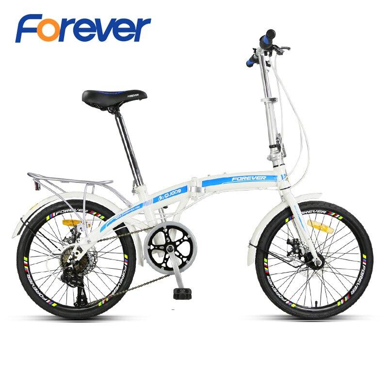 FOREVER vélo pliant 20*1.75 gros pneu vélo double V frein Al alliage cadre ville vélos pour hommes femmes 7 vitesses 20in étudiants Cycles