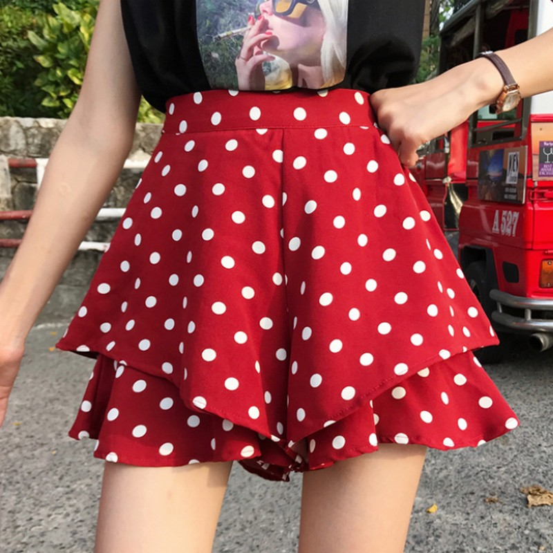 2019 Summer Korean Style Wave Women Point Skirt Shorts Loose Double Layer Female Shorts Casual High Waist Ladies Short Pants
