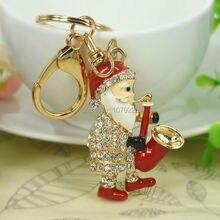 Music Sax Claus Santa Fashion Jewelry Women Handbag Keyring Rhinestone Crystal Charm Pendant Key Bag Chain Christmas Gift