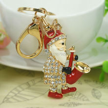 Music Sax Claus Santa Fashion Jewelry Women Handbag Keyring Rhinestone Crystal Charm Pendant Key Bag Chain Christmas Gift