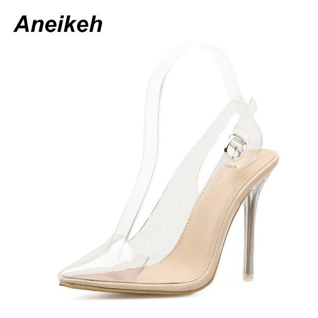 Aneikeh sandalias de mujer de PVC puntiagudas de Punta transparente de tacón alto bombas Stilettos 2018 Slingback Zapatos de vestir de boda de verano
