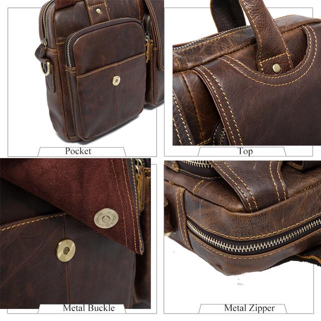 """WESTAL Messenger Bag Men's shoulder bag Genuine Leather male Bags Men's Briefcase Laptop 14"""" Tote Crossbody Bags for men 8002"""
