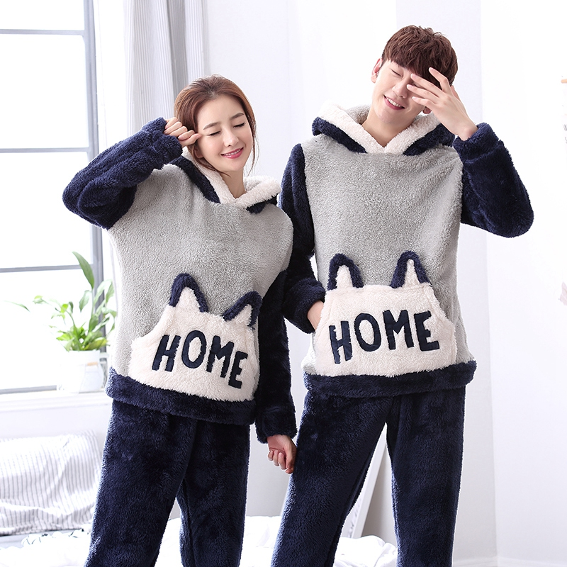 Autumn Winter Women Pajamas Set Women Pajama Men Couples Pijama Set Coral Fleece Pyjama Flannel Nightgowns