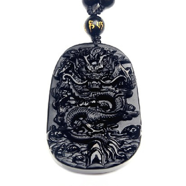 Drop Shipping Unique Natural Black Obsidian Carving Dragon Lucky Amulet Pendant Necklace For Women Men pendants JadeJewelry