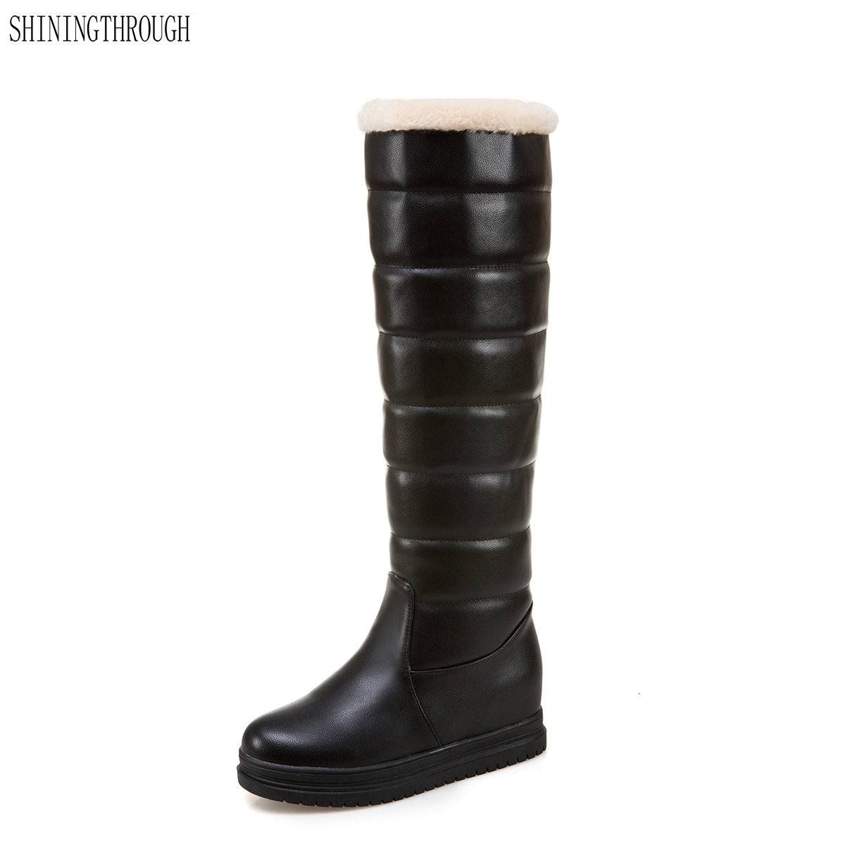 2018 New Women Boots Winter Knee High Office Las Boot Platform Snow Flat Shoes Black White Pink In From On