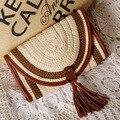 Época 2016 Chegada Nova Vintage Mulheres Weave bolsa de Palha Fresca Saco Borla Saco Do Mensageiro Saco de Embreagem Saco Bolsa de Praia No Verão
