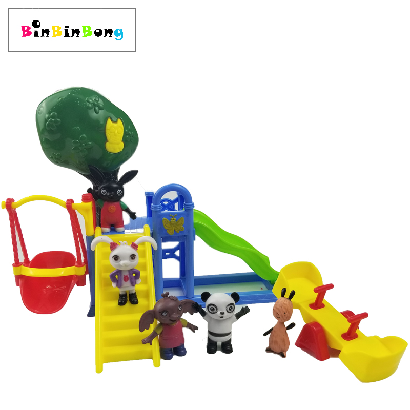 Bing Bunny Figure Toys Set Pando Coco Flop Sula Playground Slide Seesaw Action Figure Play House Toy For Children Gift
