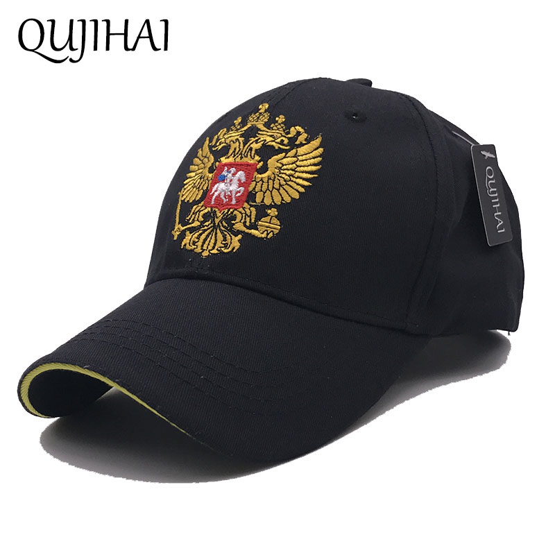 QUJIHAI Russian Emblem Embroidery Snapback   Baseball     Cap   Cotton Fitted   Caps   Ourdoor Sports Hats For Men & Women Bone Hat
