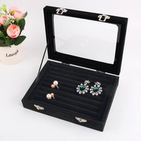 2017 Newest Black 8 Booths Velvet Carrying Case With Glass Cover Jewelry Ring Display Box Tray