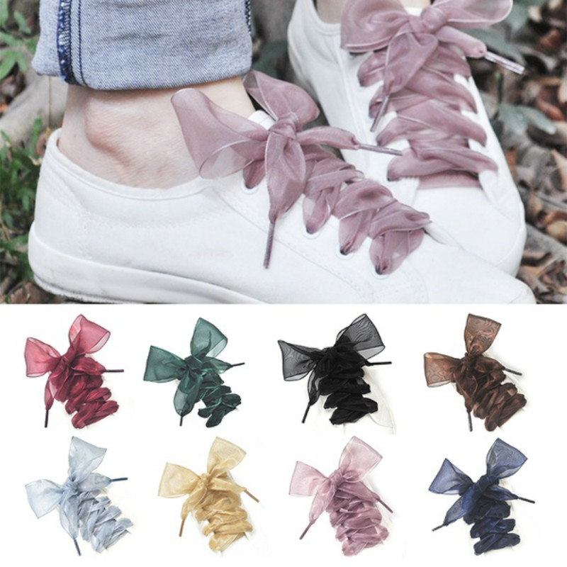 1Pair 110CM Fashion Shoestrings Women Shoelaces Flat Silk Satin Ribbon Shoe Laces Sneakers Sport Shoes Lace Bow Free Shipping weiou fashion flat silk ribbon shoelaces princess sneaker colorful sport shoes laces with 2cm width metal aglets drop shipping