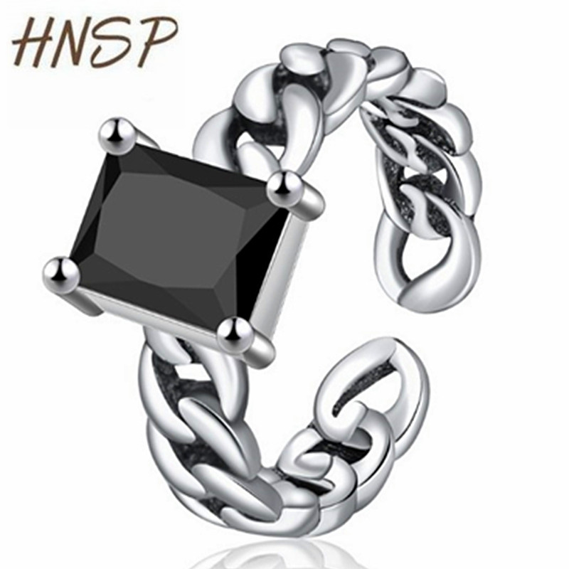 HNSP Ring Black Stone Fashion Jewelry Adjustable Silver-Color Vintage Size Women