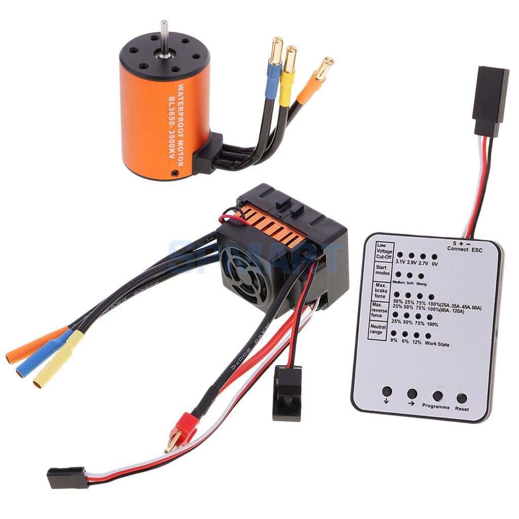 3650 3500KV Brushless Motor+60A ESC +LED Program Card for 1/10 RC Car Truck f540 3930kv brushless motor 45a esc led program card for 1 10 1 12 rc car