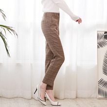 Bella Philosophy 2018 Spring Plaid Basic Pants Women Casual High Waist Long Harem Pants Female Zipper Office Lady Pants Bottoms