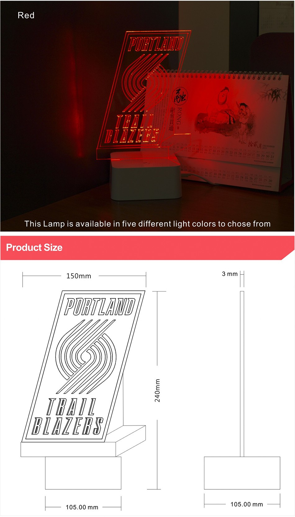 3D Lamp USB Novelty for Portland NBA Basketball Fans LED Night Light as Creative Gifts or Home Decor (5)