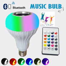 A Quality E27 Bluetooth Music Lamp Smart RGB RGBW Wireless Speaker Bulb 12W LED Light Player Dimmable 24 Keys Remote Controller(China)