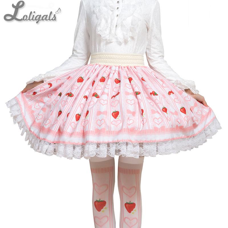 Sweet Strawberry and Heart Printed Short Skirt Cute Mori Girl A line Skirt
