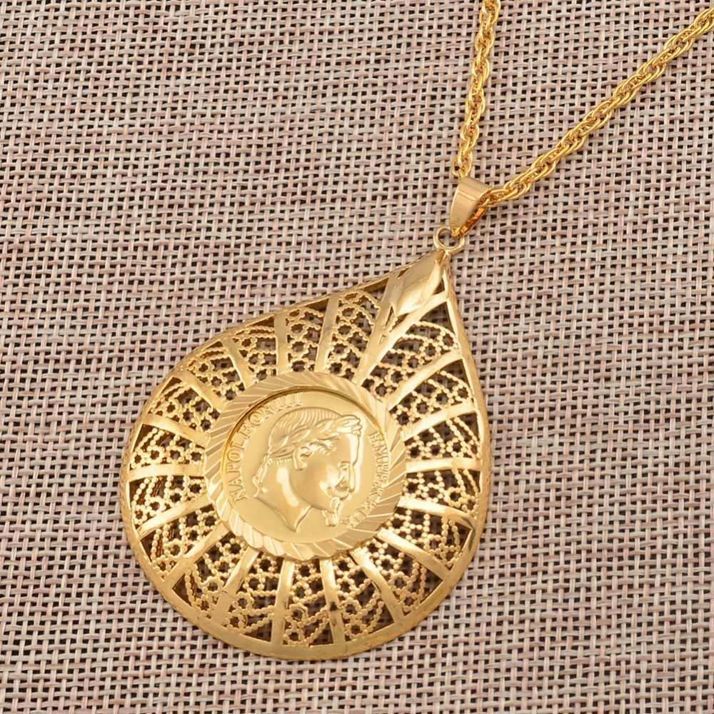 Anniyo Big Napoleon wisiorek w kształcie monety naszyjniki złoty kolor afryka arabskie monety biżuteria metalowa prezenty #014612