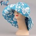 2016 Sombrero Del Cubo Grande Ancho Brim Sombreros de Sun Mujeres Floral Del Verano Al Aire Libre Pesca Polo Chapeau Sombrero Del Cubo Del Algodón Para Las Mujeres
