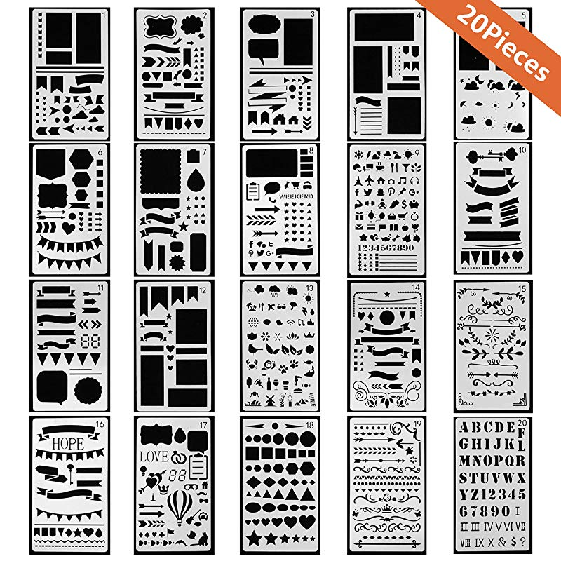 Bullet Journal Stencil Plastic Planner Set For Journal/Notebook/Diary/Scrapbook DIY Drawing Template Journal Stencils