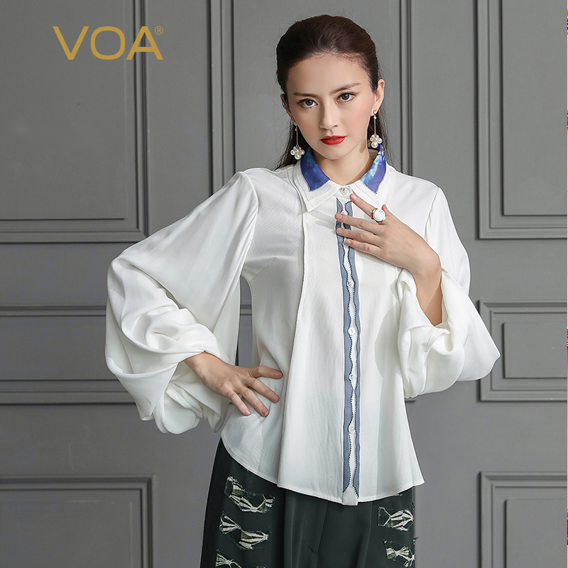 7bff753c Detail Feedback Questions about VOA Heavy Silk Blouse Solid White Women Top  Office Shirt Basic Slim Plus Size Formal Lantern Long Sleeve Spring haut  femme ...