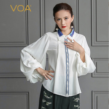 VOA Heavy Silk Blouse Solid White Women Top Office Shirt Basic Slim Plus Size Formal Lantern Long Sleeve Spring haut femme B506