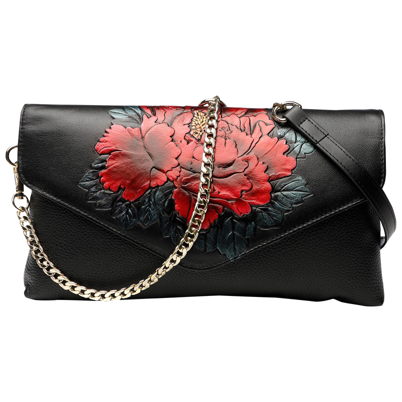 National Style Vintage Peony Celebrity Clutches Evening Bags Women Long Wallet Purse Lady High Capacity Shoulder Hand Strap Bag
