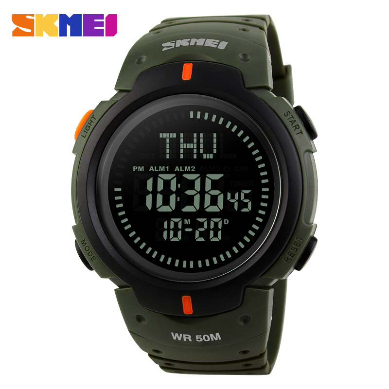 <font><b>SKMEI</b></font> Sports Outdoor Compass Men Watches Countdown World Time Hiking LED Electronic Digital Watch 50MResistant Relogio image