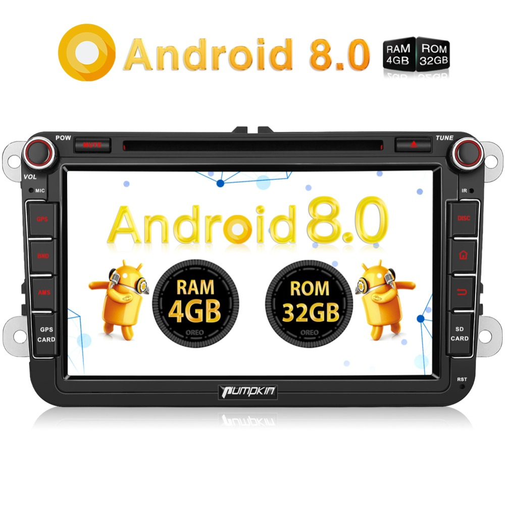 Pumpkin 2 Din 8Android 8.0 Qcta-core 4G+32G Car Stereo DVD Player GPS Navigation For Volkswagen/Golf/Skoda Wifi FM Rds Radio