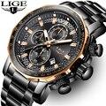 2019 LIGE Novos Homens Da Moda Relógios Top Marca de Luxo Militar Macho Grande Mostrador do Relógio Analógico Relógio de Quartzo Dos Homens Do Esporte Do Cronógrafo relógio