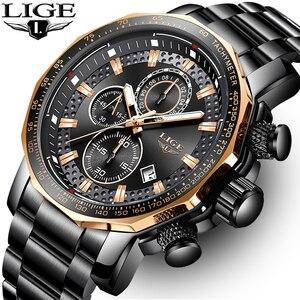 Image 1 - LIGE relojes de moda para hombre, reloj masculino de cuarzo analógico, con esfera grande militar, cronógrafo deportivo, 2020