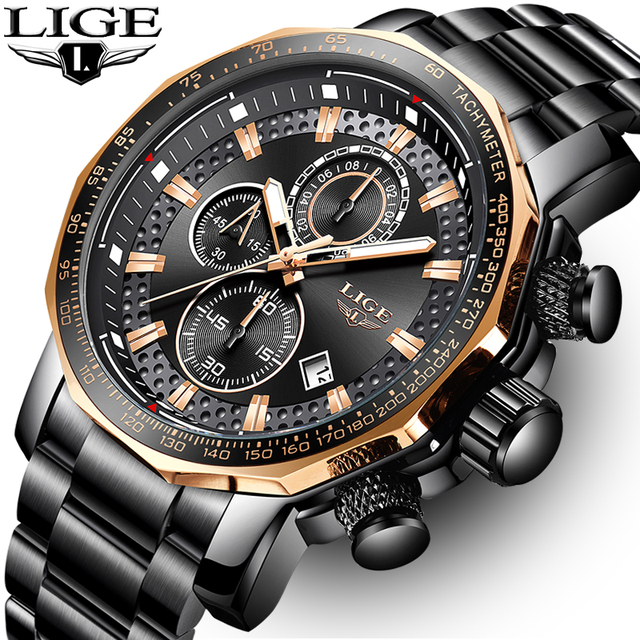 LIGE relojes de moda para hombre, reloj masculino de cuarzo analógico, con esfera grande militar, cronógrafo deportivo, 2020