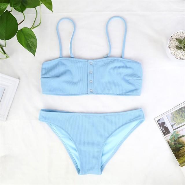 KLV Women's Solid Color Bikini Print Swimsuit Pushups Swimwear blue Beachwear