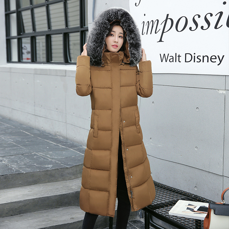 New Thick Warm Parkas Long Slim Hooded Large Fur Collar Coat 2017 Winter Cotton Padded Jacket Female Outwears Plus Sizes M-4XL 2017 winter new coat womens long slim hooded large fur collar thick cotton warm jacket for female zipper pattern epaulet padded