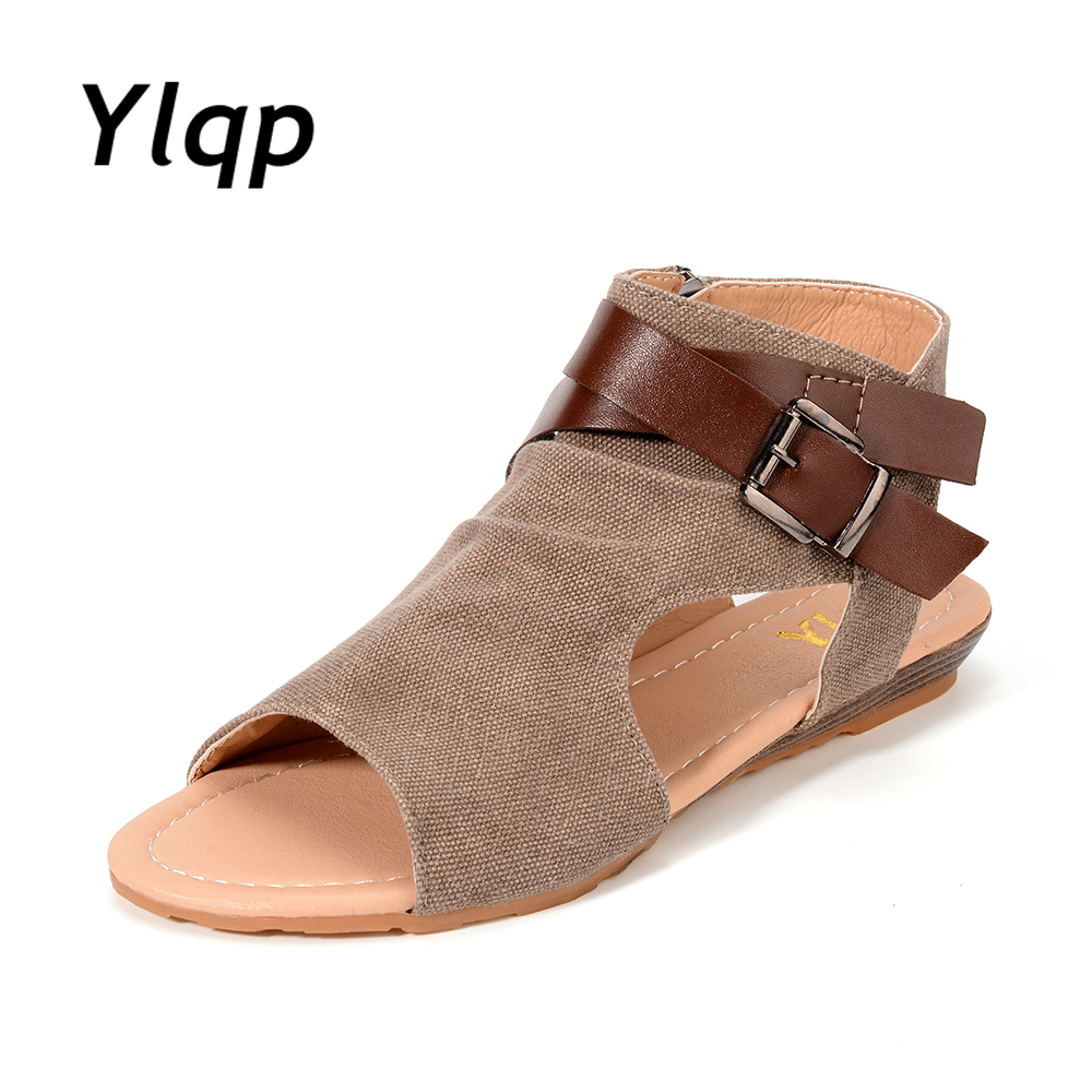2018 Fashion Womens Summer Sandals Buckle Canvas Peep Toe Shoes Open Toe Flats Beach Casual Flip Flops for Women Flats Plus Size цена