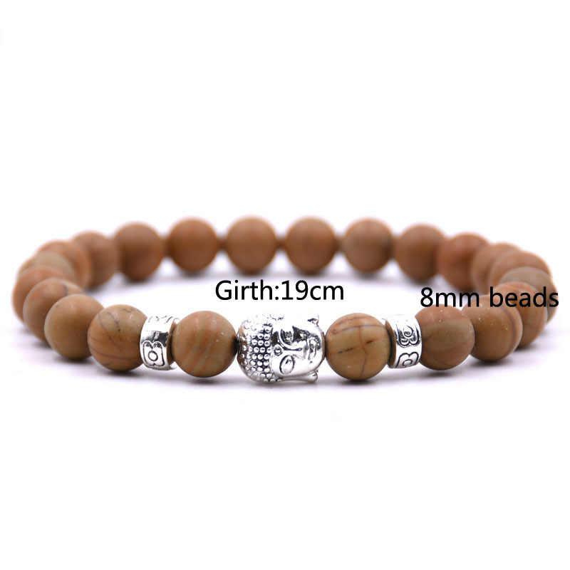 Mais novo Budismo Tibetano Fortunas Ohm Charme Pulseira para As Mulheres Pulseira Labradorite Pedra Bead Bracelet Pulseira Budda Yogi Femme