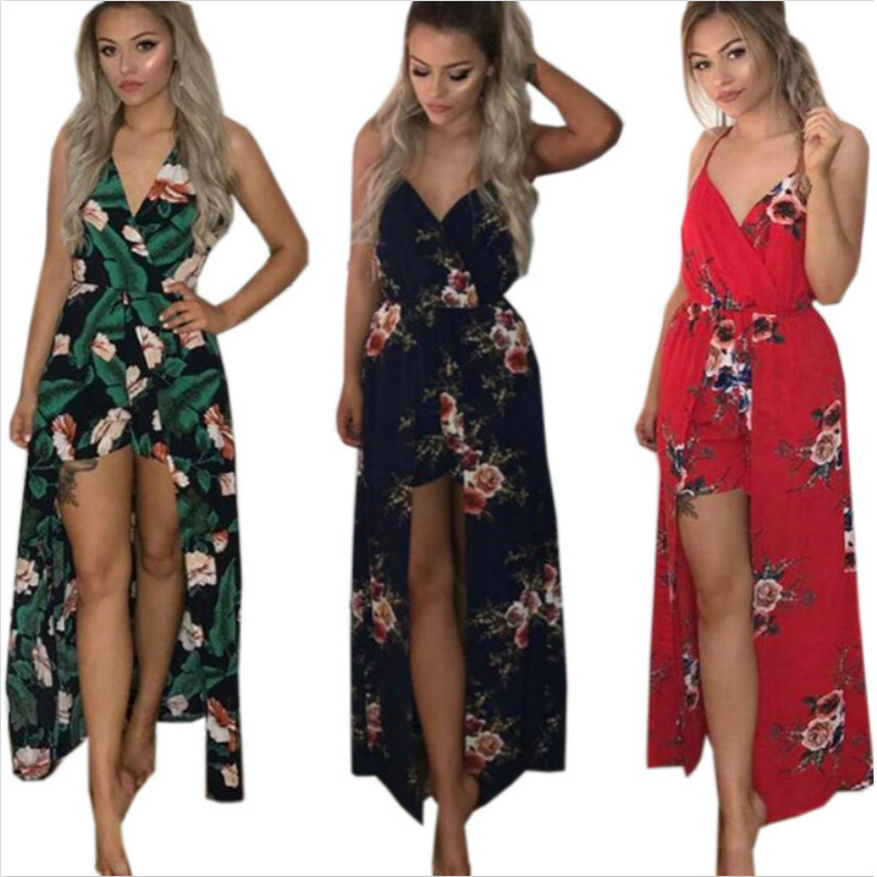 Sexy Summer Playsuit 2019 Strapless Floral Jumpsuit Shorts Plus Size Overalls For Women Rompers Beach Strappy Bodysuit