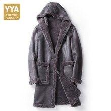 Inverno masculino com capuz shearling jaqueta forro de lã quente meados longo casaco de pele real fino ajuste homem de negócios camurça jaquetas de couro M 5XL