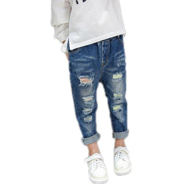 2017 осень дети девушки джинсы дети брюки девочек одежда отверстия пят мальчиков брюки случайные джинсовые брюки дети Шаровары 2-7 Т